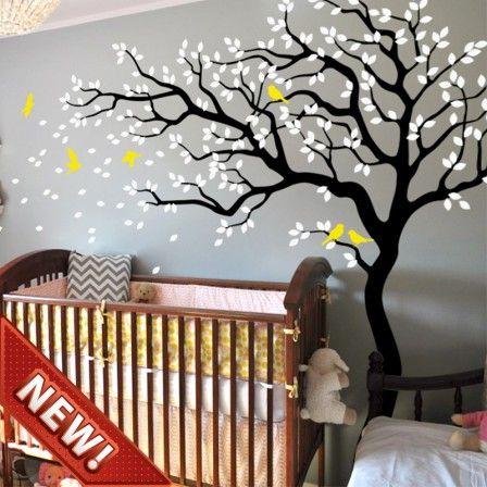 Curvy Tree With Birds R Vinyls Wall Art Wwwwallartcouk - Nursery wall decals ukbaby nursery wall decor uk baby room wall art uk grey and yellow