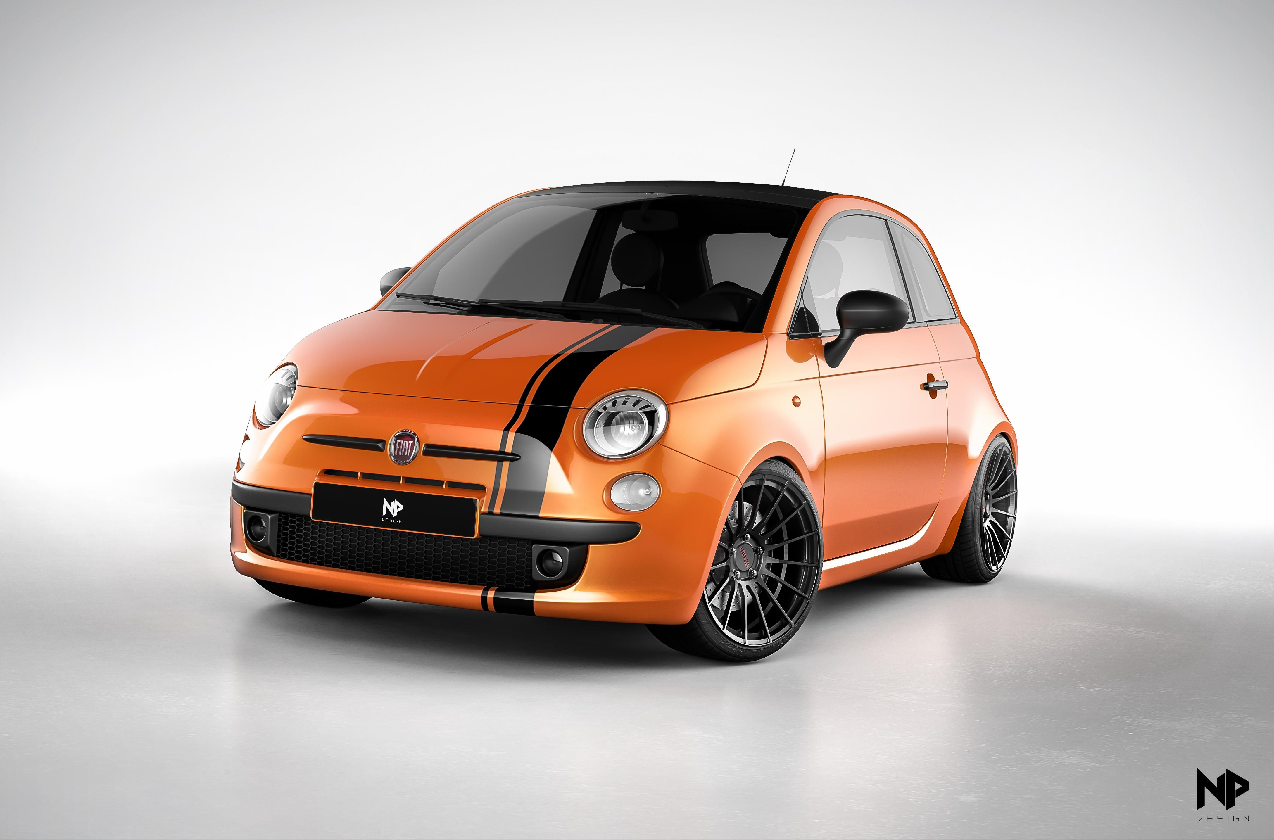 orange stefan edition fiat 500 with enkei rs50rr wheels rendered in keyshot by nils piirma. Black Bedroom Furniture Sets. Home Design Ideas
