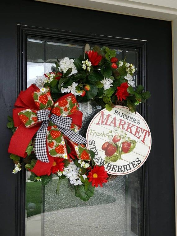 Photo of Strawberry with flowers grapevine wreath, country flower wreath, geranium wreath for outdoors, wreath with strawberry characters, wreath with bow