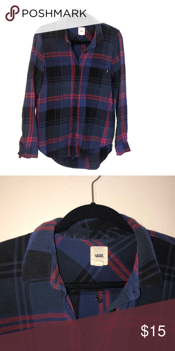 2c237f3a9e Vans Flannel Dark blue, red, and black button up flannel Vans Tops ...