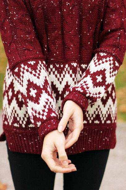 Sweater: winter red knit burgundy white print holiday season ...