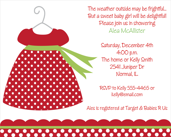 Baby Girl Christmas Dress Baby Shower Invitations Baby Shower