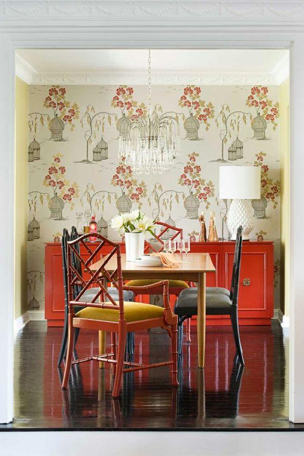 tapeten im vintage stil und dunkler bodenbelag Wandgestaltung - moderne wandgestaltung fur wohnzimmer
