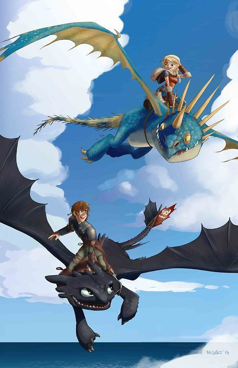 Astrid and Hiccup riding There AWESOME dragons