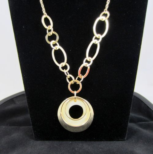 Necklace 14k Gold Bonded Circles Pendant Chain Necklace Genuine Gold Finish