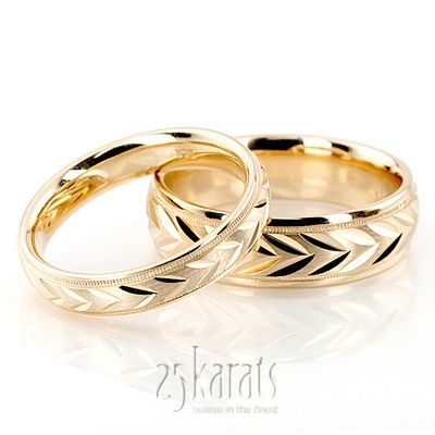 8b77ad4b27a Leaf Design Two-Color Diamond Cut Wedding Ring Set. Available in 14K gold