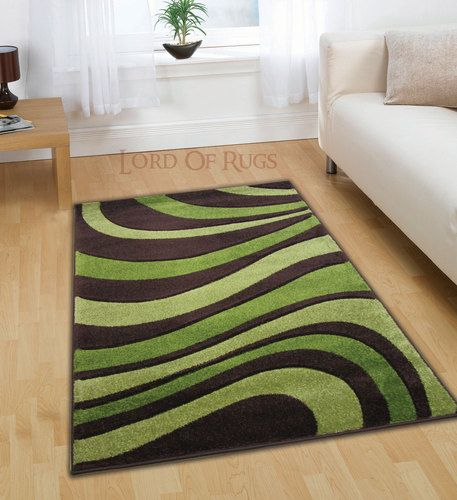 Modern Large Brown Green Rug In 120x160 (4x5), 150x210 Cm