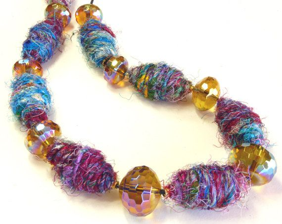 LADY LACE Mixed fibre necklace with recycled sari silk and beads.