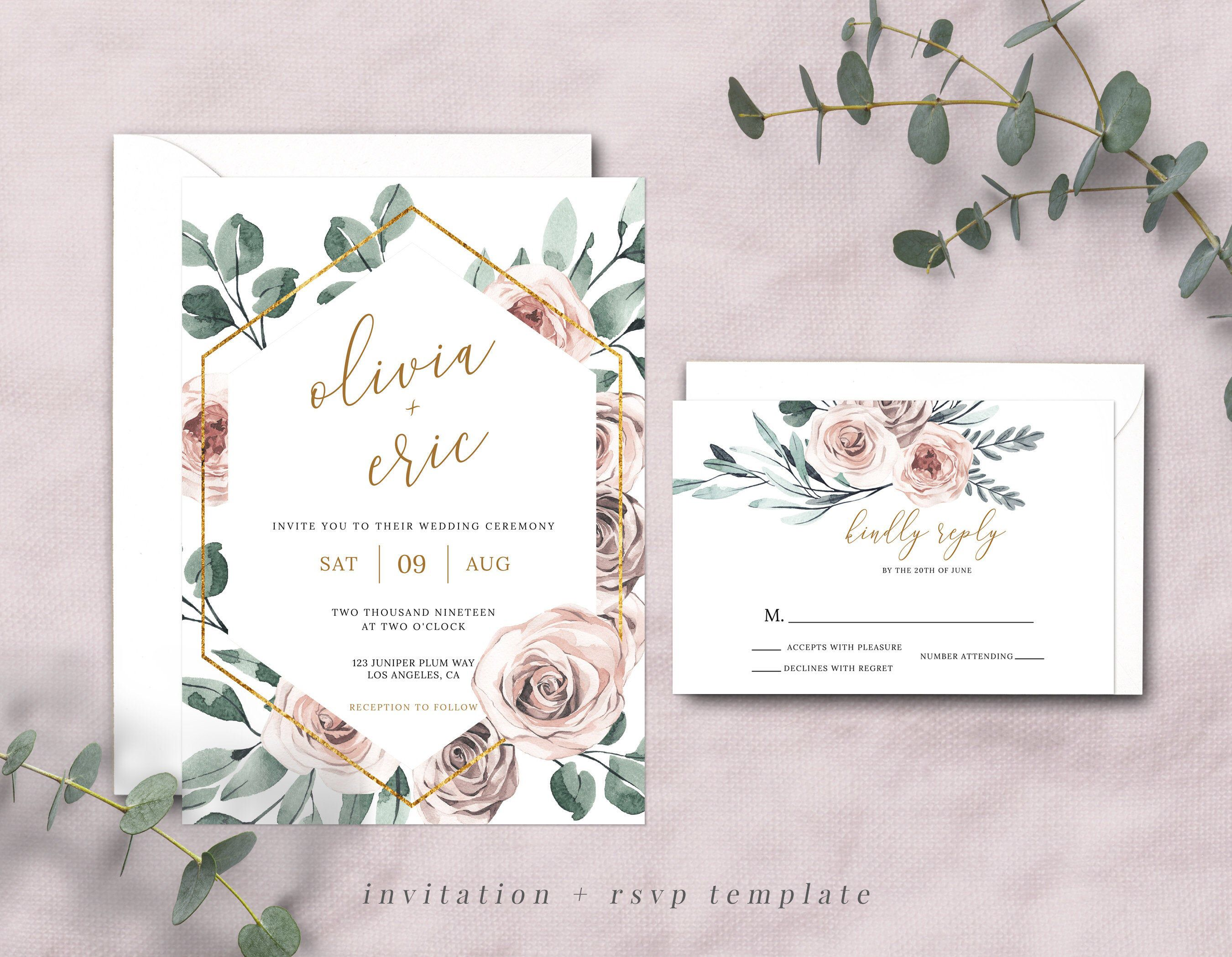 Boho Rose Wedding Invitation Set Template Rose Wedding Etsy Rose Wedding Invitations Wedding Invitations Wedding Invitation Sets
