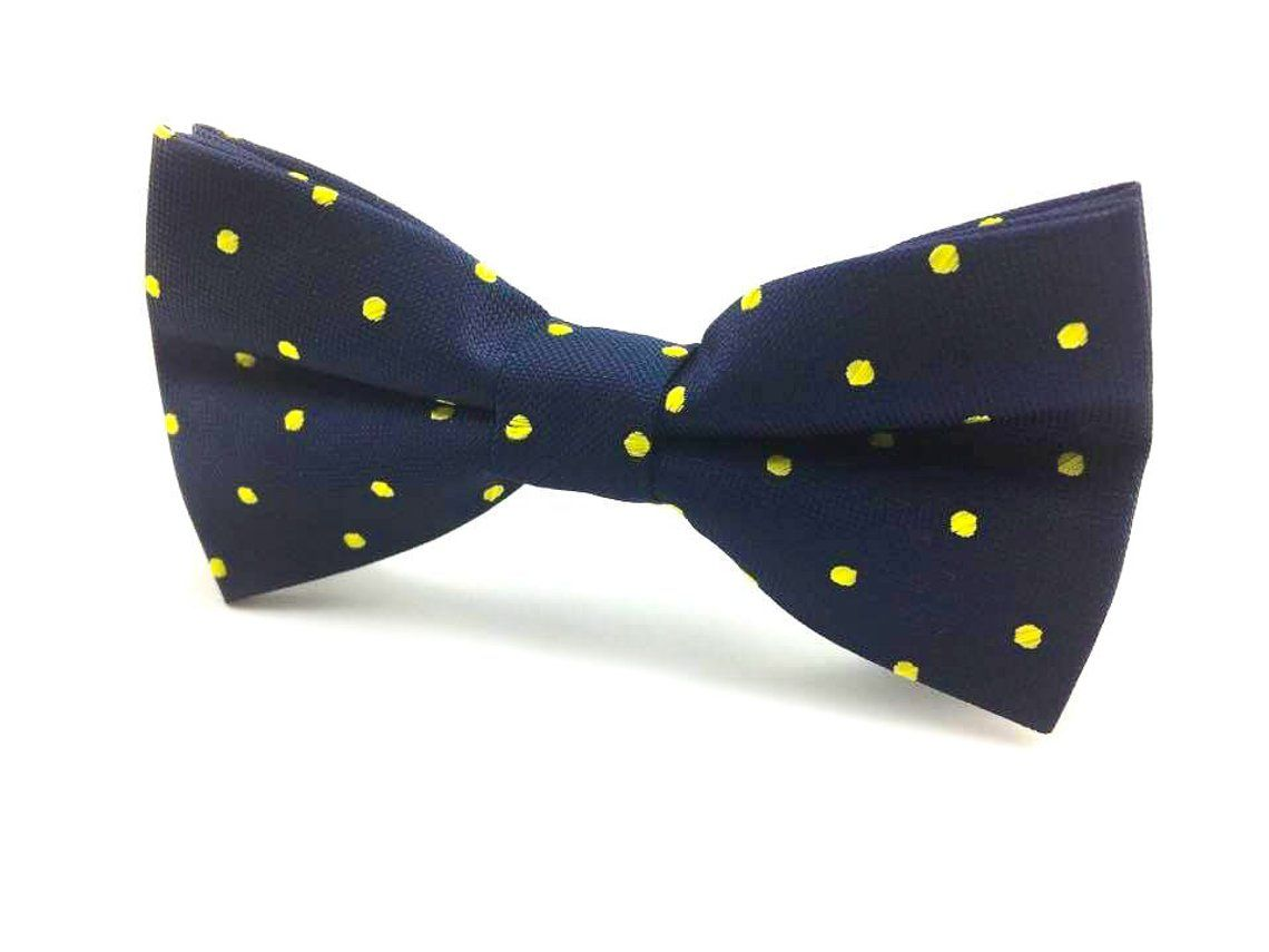 Men/'s Bowtie Yellow with Midnight Blue Polka Dots Self-tied Formal Men Bow tie