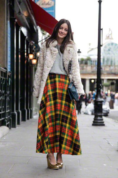 plaid maxi in london #skirt #fur #coat