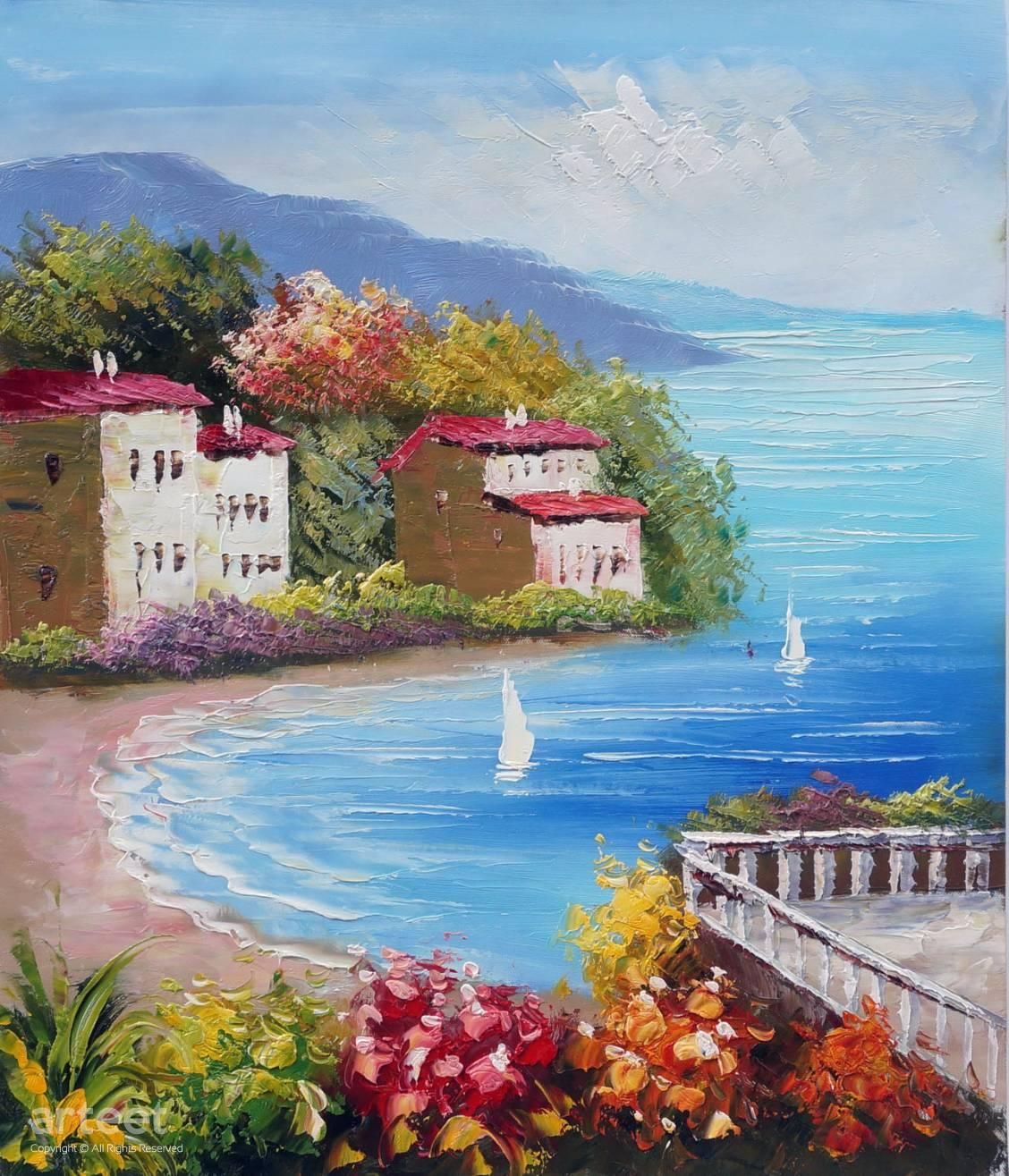 Sailboats At The Bay In 2020 Painting Art Paintings For Sale Oil Painting Pictures