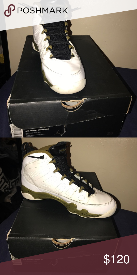 promo code 299a2 95117 Air Jordan 9 Retro BG 7 10 condition! (MILITARY GREEN) Air Jordan Shoes  Sneakers