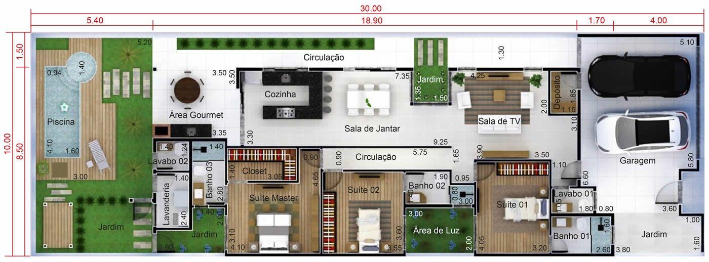 Well-known Plano de casa de 3 habitaciones. Plano para terreno 10x30 | planos  HS43