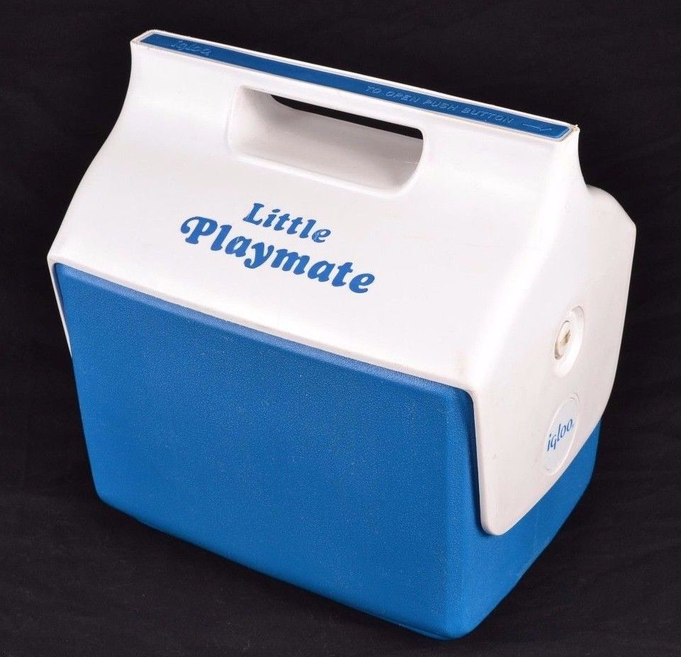 Igloo Little Playmate Ice Chest Picnic Lunch Box Cooler Blue White Button USA #Igloo