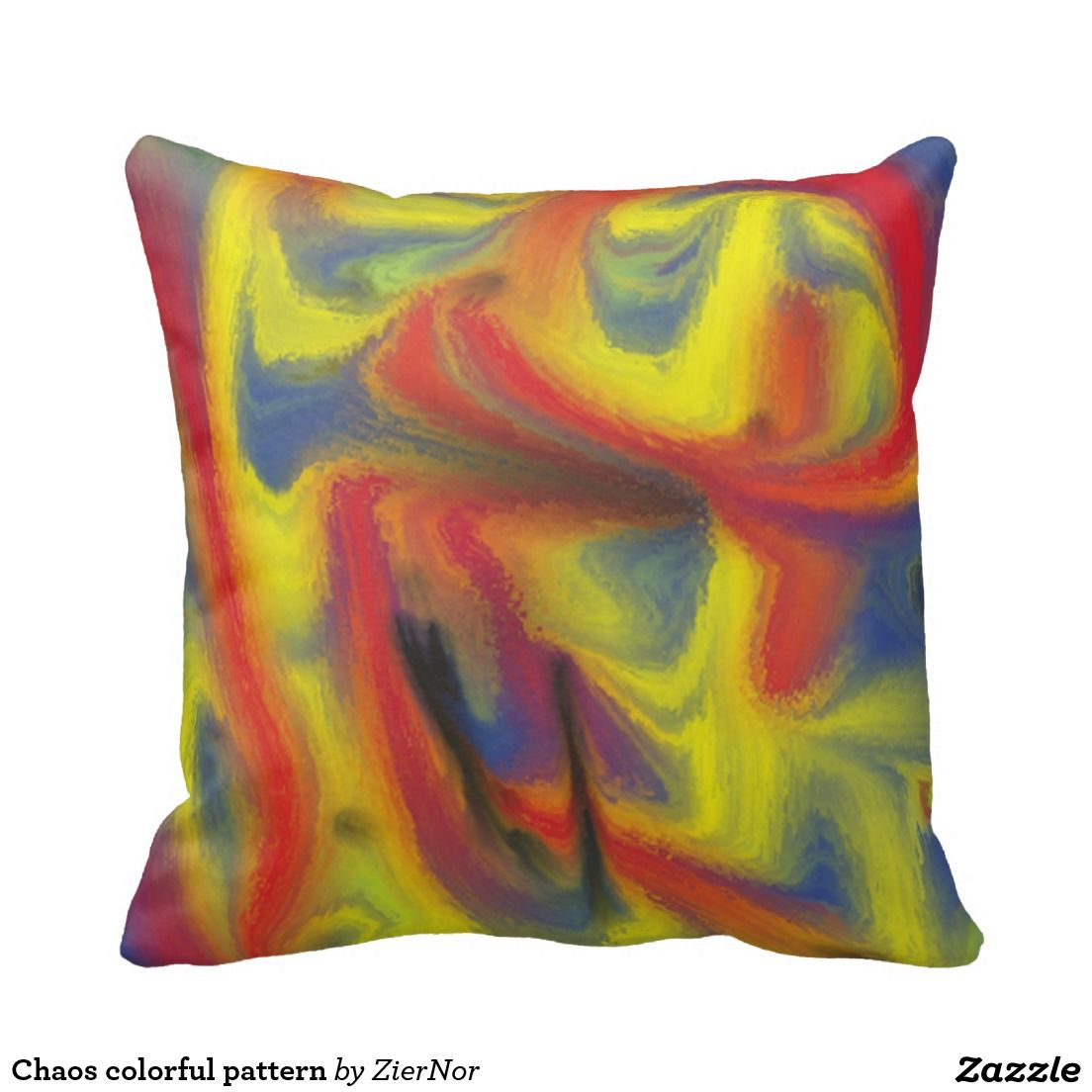Chaos colorful pattern throw pillow