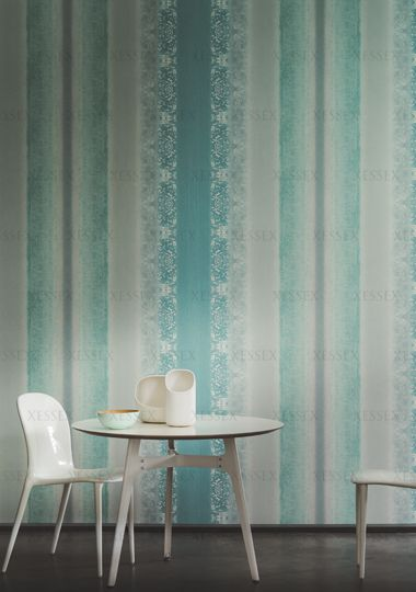 Instant - It is a celebration of unique emotions. It is these fragile moments, when anything can change and everything becomes possible. (Visit www.xessex.com.sg for the latest ranges and collections of #wallcoverings and #wallpapers!) #stripes #green #turquoise #lace #grey