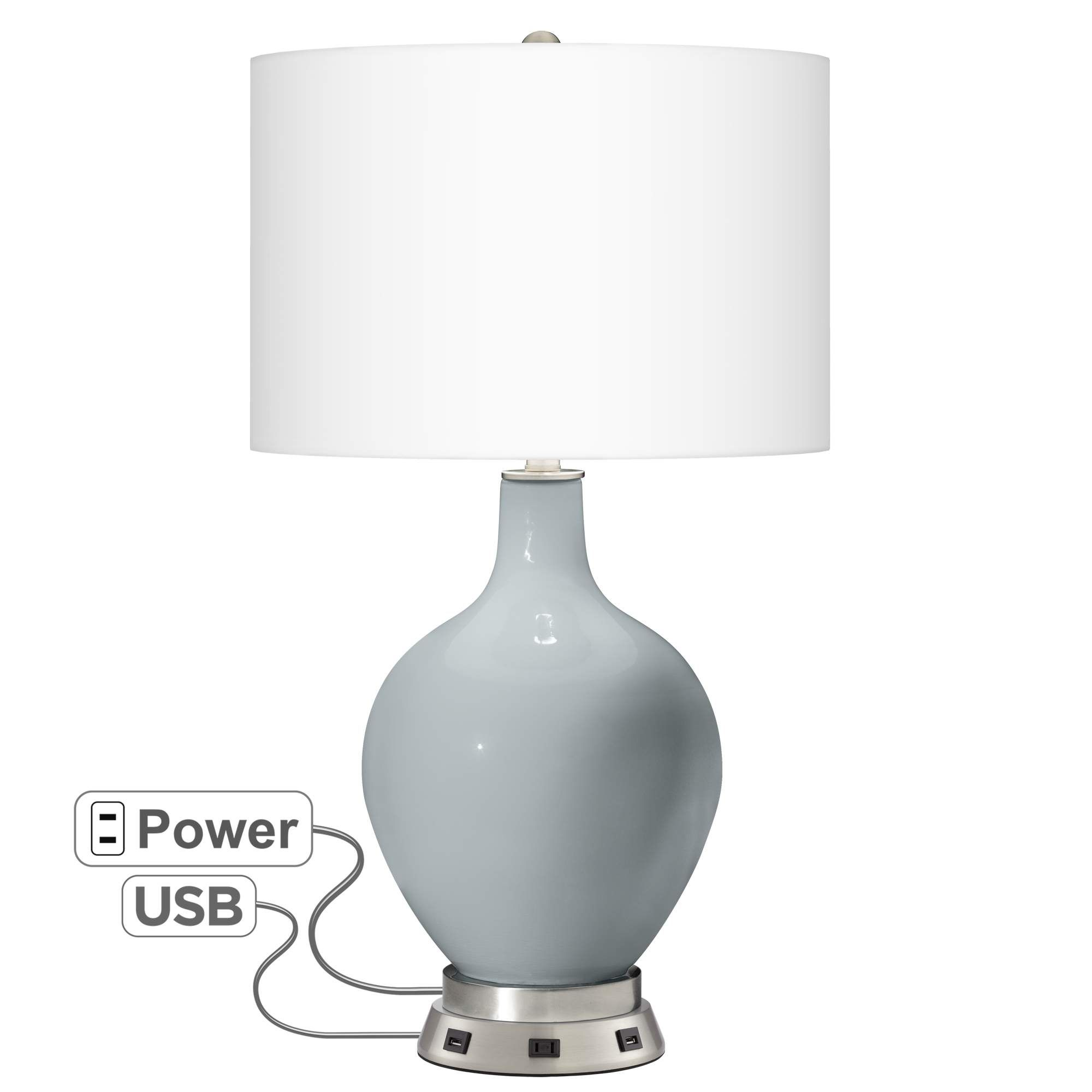 Uncertain Gray Ovo Table Lamp With Usb Workstation Base Di 2020