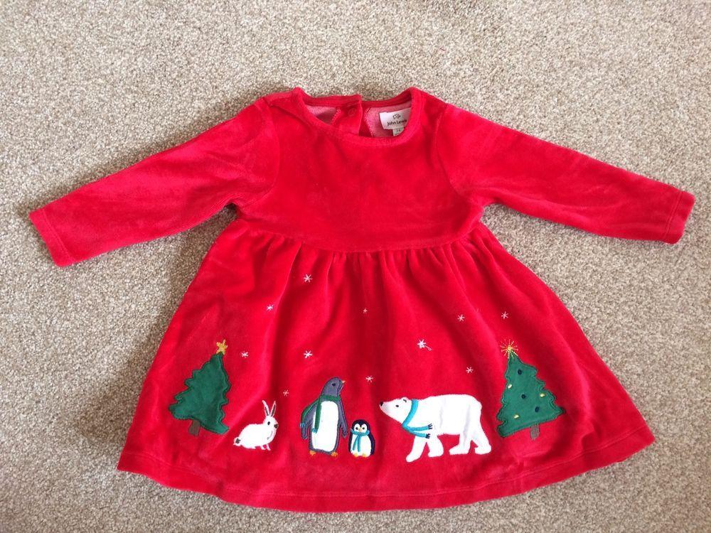 John Lewis Velour Christmas Baby Dress Polar Bear Penguin Rabbit 3 6