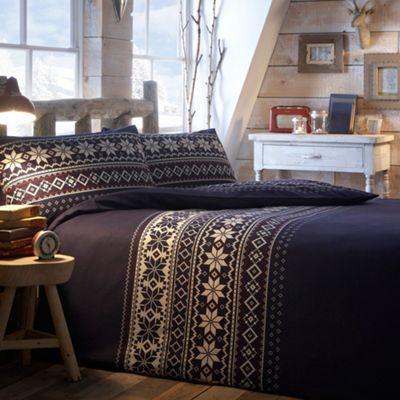 Debenhams Navy fairisle brushed cotton bedding set- at Debenhams ...