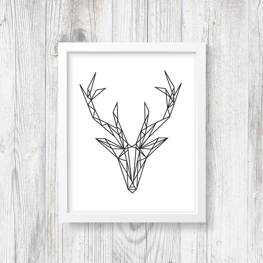 Geometric Deer Print, Abstract, Gallery Heart Poster, Modern ...