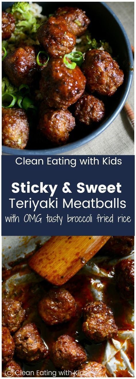 Sweet & Sticky Teriyaki Meatballs piled on top of a really yummy broccoli fried ...,   Meatball Recipes