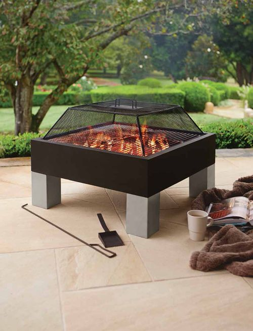 The Patio By Jamie Durie Square Fire Pit Doubles As Both An Outside Heater And Open Fire Bbq Complete With A Remova Feuerstellen Tisch Feuerstelle Feuerschale