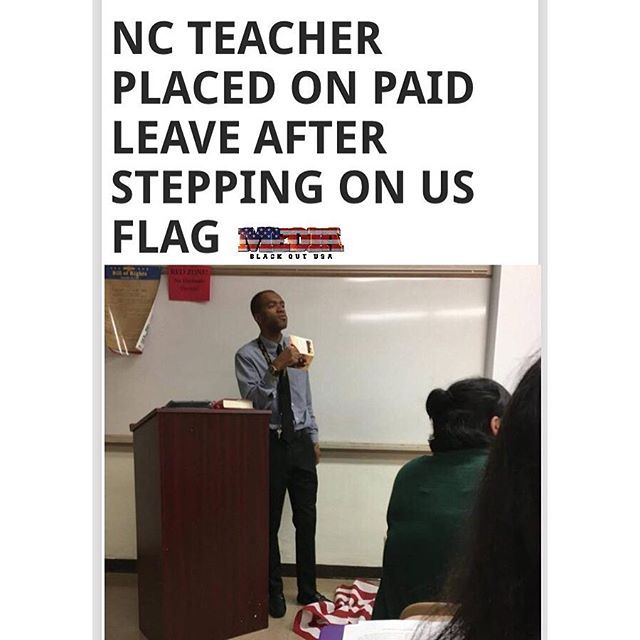 """A Fayetteville, N.C., history teacher was put on paid administrative leave Tuesday after sparking controversy after he stepped on the U.S. flag while giving a lesson on the First Amendment, the Fayetteville Observer reports. #LeeFrancis, a teacher at the Massey Hill Classical High School, said that he is expected to meet with Cumberland County Schools officials Thursday to discuss the incident. """"It's really disconcerting,"""" Francis told the site. """"My question to everyone is, 'Who is entitled…"""