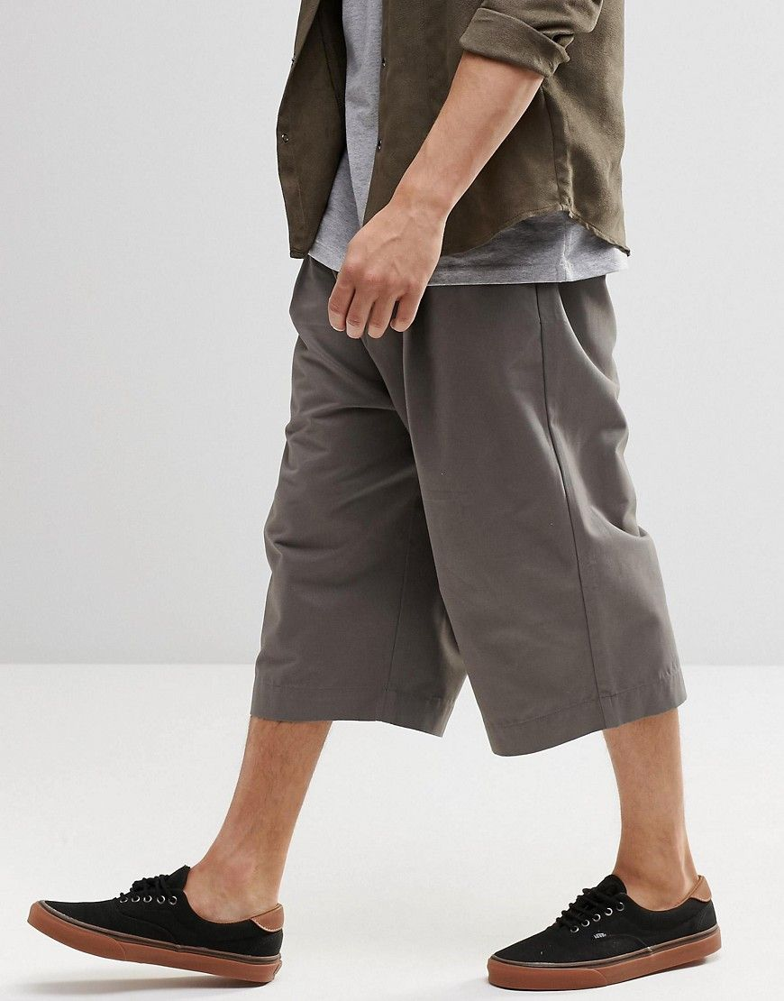 Image 4 of ASOS Wide Leg Cropped Pleated Pants in Mid Gray