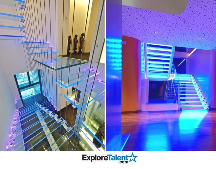 House Goals: A Neon lit glass staircase!!