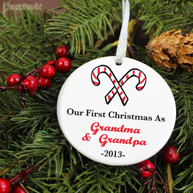 Personalized Pregnancy Grandparents To Be Candy Canes Christmas