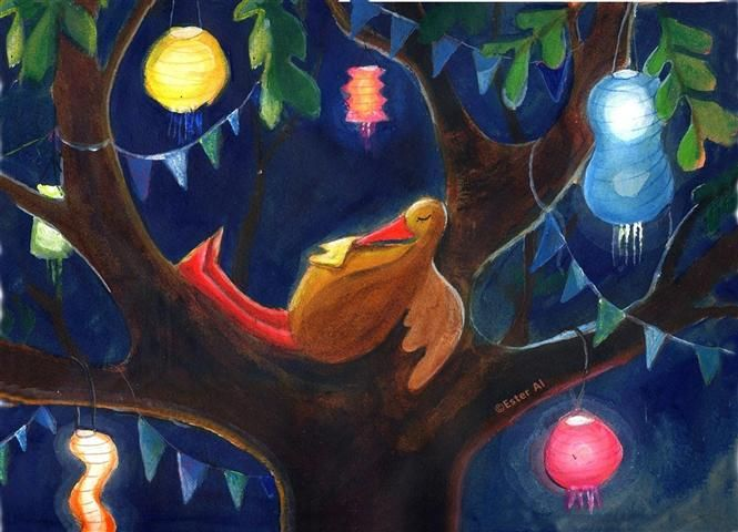 Sleeping in a tree with lanterns