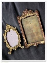 French antique solid bronze Vanity gilt photo holder with ornate flower decoration home deco piano place bronze frame ornate