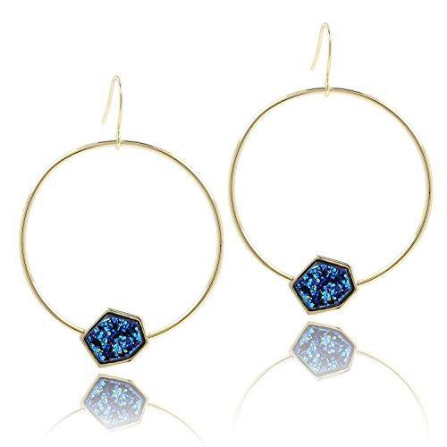 6cdf1272acaa1 14K Gold Plated Large Blue Druzy Hoop Dangle Earrings for Women ...