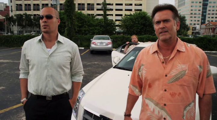 "Burn Notice 5x13 ""Damned If You Do"" - Sam Axe (Bruce Campbell) & Jesse Porter (Coby Bell)"