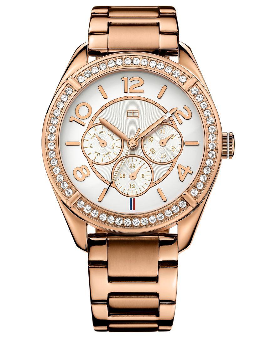 64ca58edba6811 Tommy Hilfiger Watch, Women s Rose-Gold-Tone Stainless Steel Bracelet 40mm  1781254
