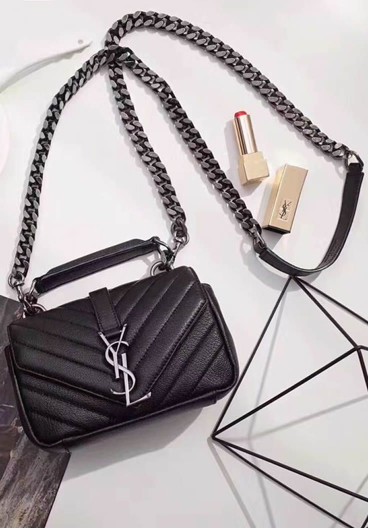 18d69470d57 The Saint Laurent Classic Baby College Monogram Chain Bag is covered with  contemporary quilted leather.