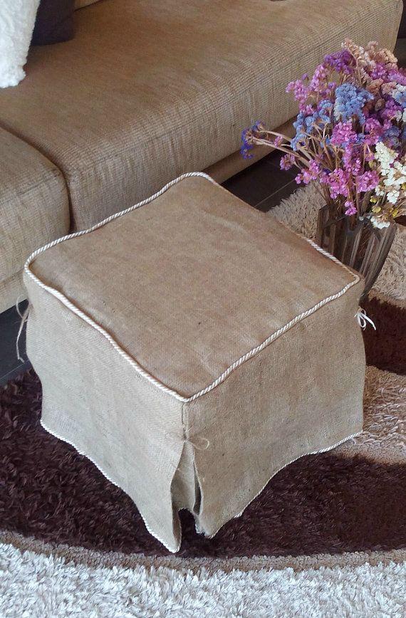 Groovy Burlap Ottoman Slipcover Burlap Ottoman Cover Ottoman Ncnpc Chair Design For Home Ncnpcorg
