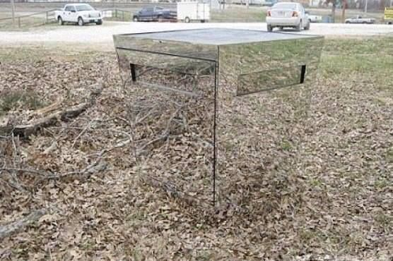 Deer blind made from inward sloping trapezoidal mirrors for Tree stand blind ideas