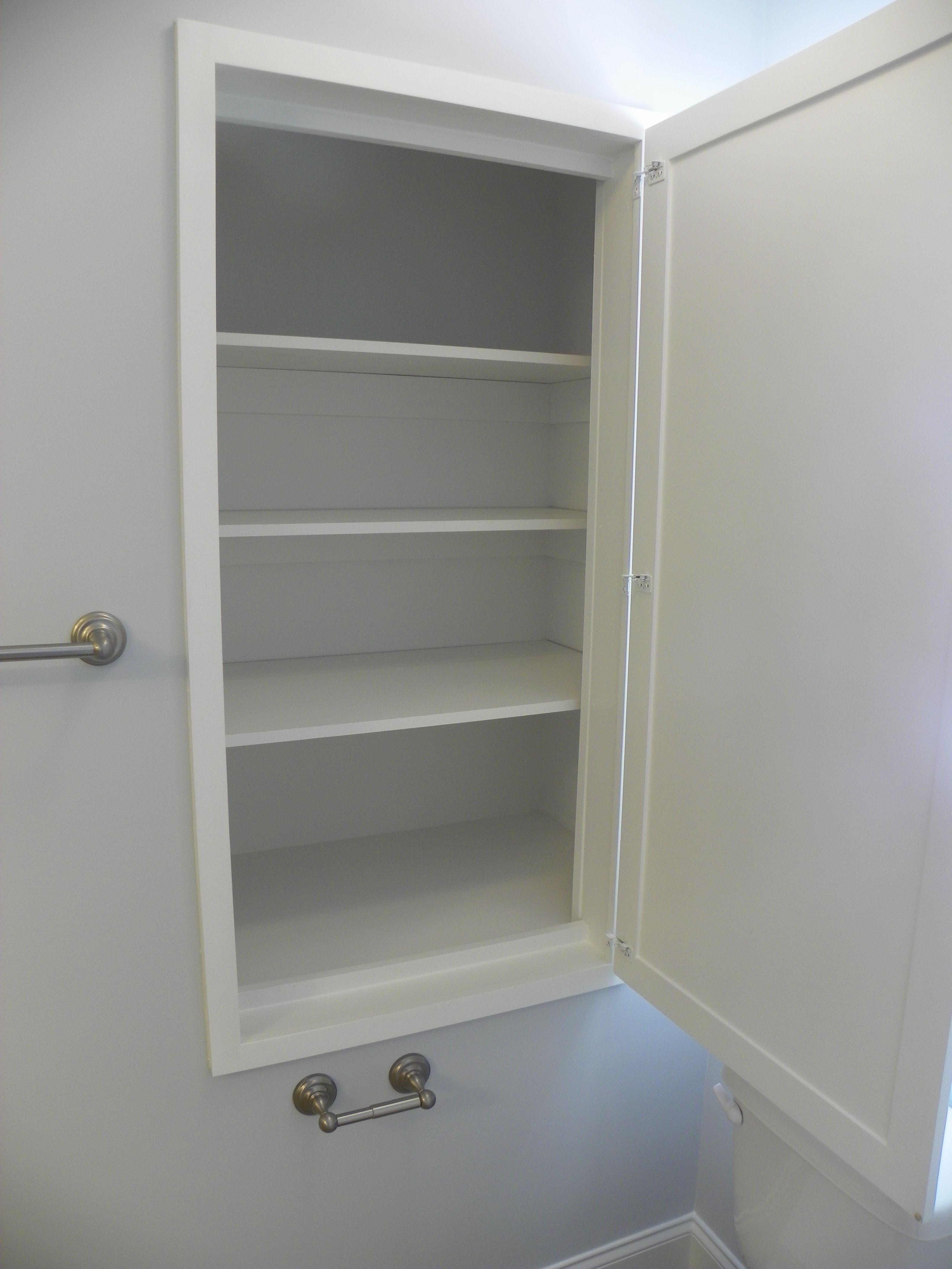 Linen Cabinet Built In To Wall Cavity Next Toilet Door Swings Over Lid