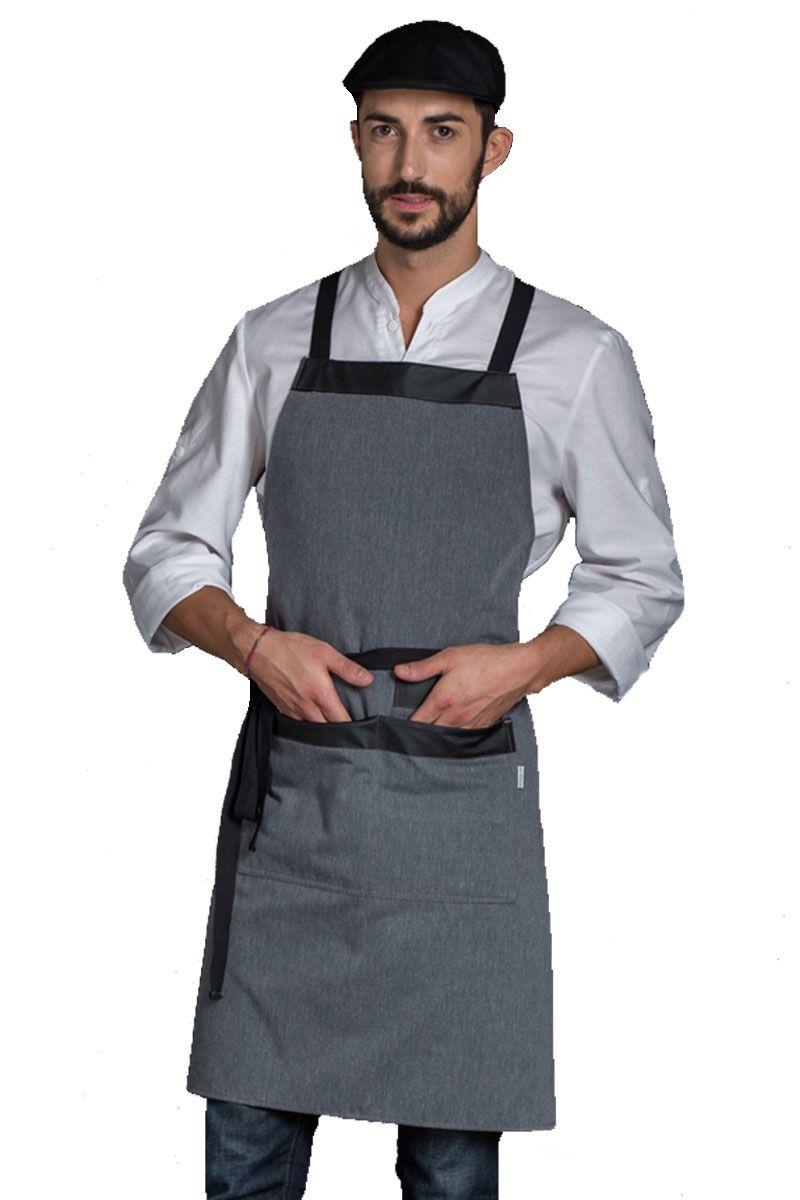 fa4cca2fef8 Este delantal de cocina con peto gris jaspeado de Dyneke es de espalda  cruzada. Tiene un bolsillo central partido y otro en el interior de estos  dos.