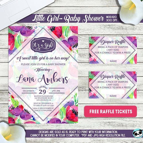 printable it s a girl baby shower invitation free raffle