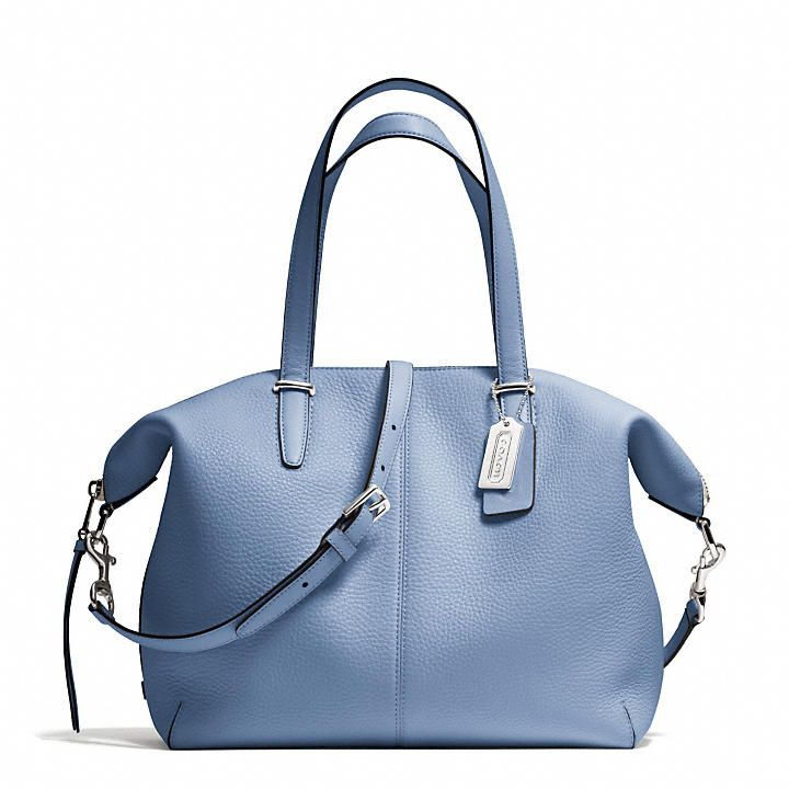 958050550ae85 Coach Bleecker Cooper Satchel in Pebbled Light Blue Leather ...