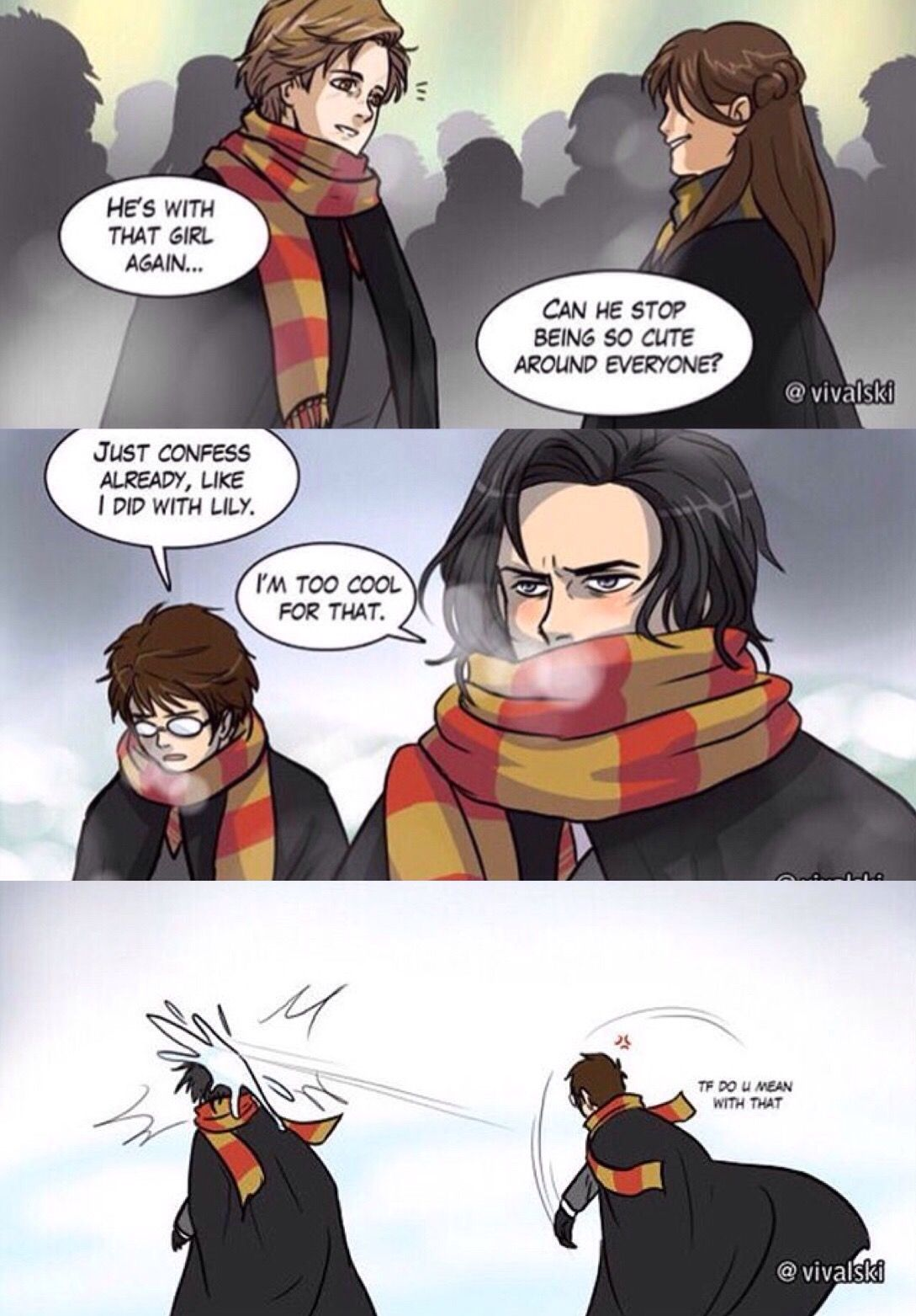Girl Versions Of The Marauders I Love The Expression On Female James Face Xd Harry Potter Comics Harry Potter Fan Art Harry Potter Universal