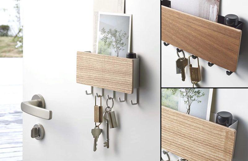 金属製の玄関ドアに簡単に取り付けできるマグネットキーフック 五つの