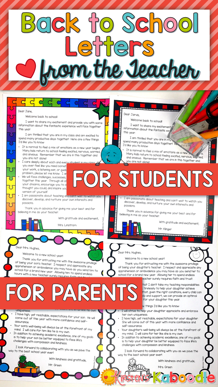 Back To School Letters From The Teacher Letter To Parents