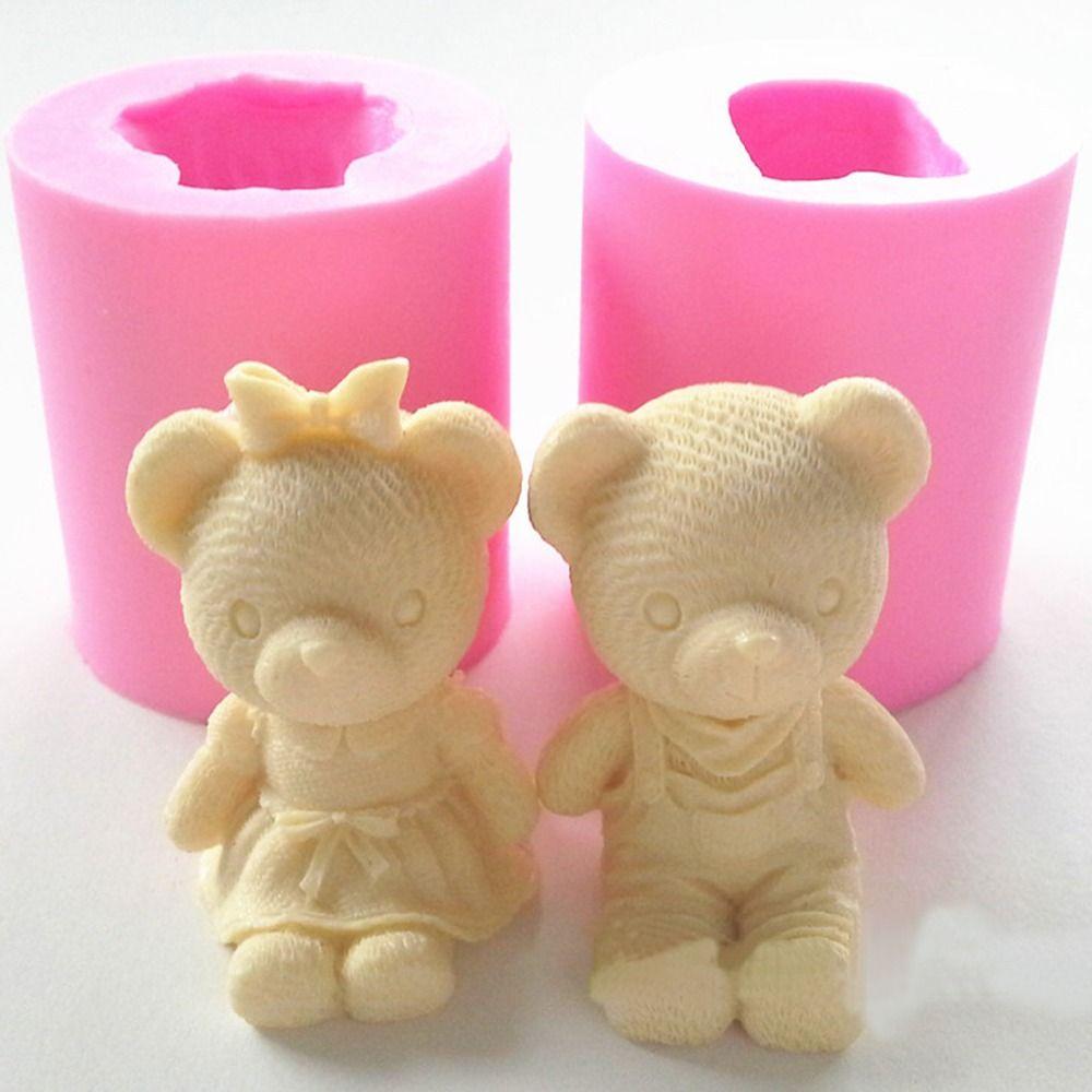 Cute Bear Junge Mädchen Silikonseifenform Fondant Kuchen Dekorieren Werkzeuge Sugarcraft Kuchen Schokoladenform Gummi-pasten-candle Formen