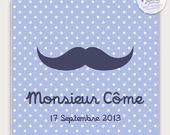 """Faire-part de naissance/ baptême """"Moustache"""" à pois pour garçon à personnaliser"""