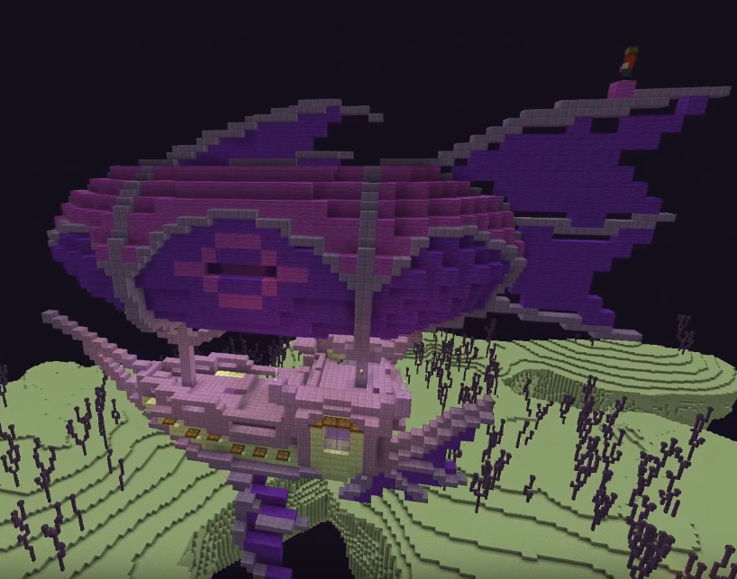 Minecraft Airship And End City Transformation Minecraft Minecraft Creations Minecraft Blueprints