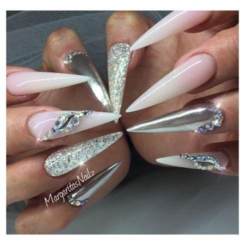 Chrome Stilettos White French Ombre Long Stiletto Nails By
